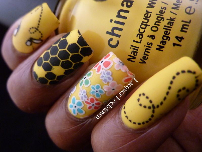 Vivid Lacquer Spring Bumblebee Nail Art using China Glaze Happy Go Lucky