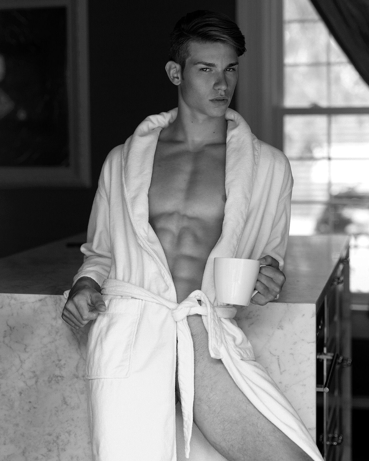Naked man coffee, nude male model shower