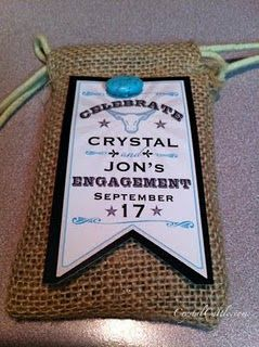 Burlap and Turquoise Invitations