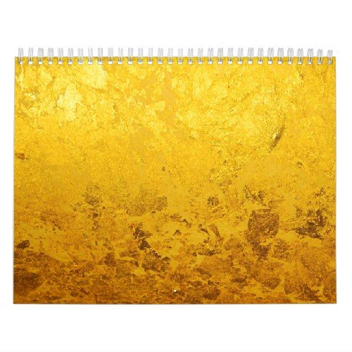 Calendar PURE GOLD / gold leaf + your photos/text Gold gold and Leaves