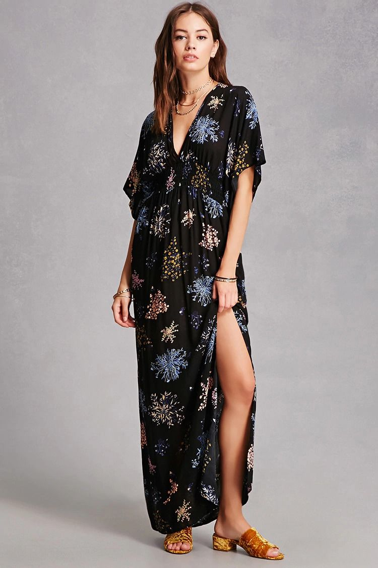 41d1bf7722009d A woven maxi dress featuring a floral print, short kimono style sleeves, a  V-cut front and back, smocked waist, and a self-tie back.