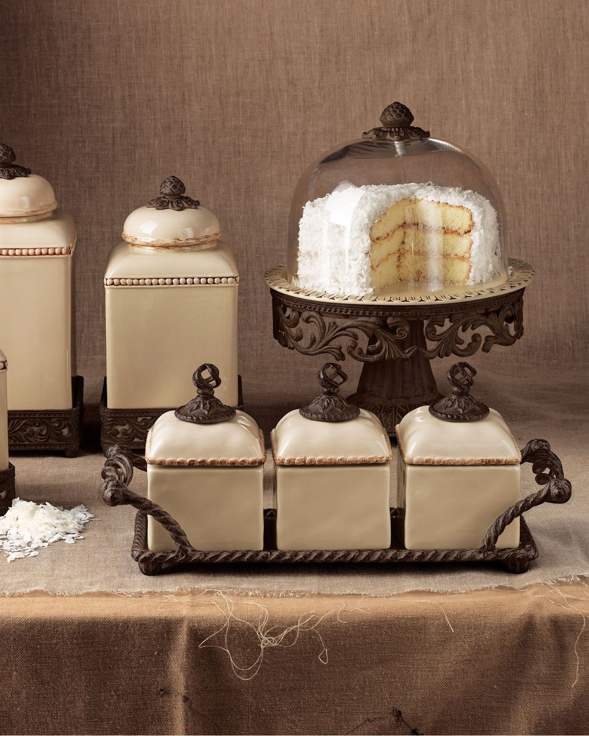 Gg collection canisters cake dome neiman marcus cake