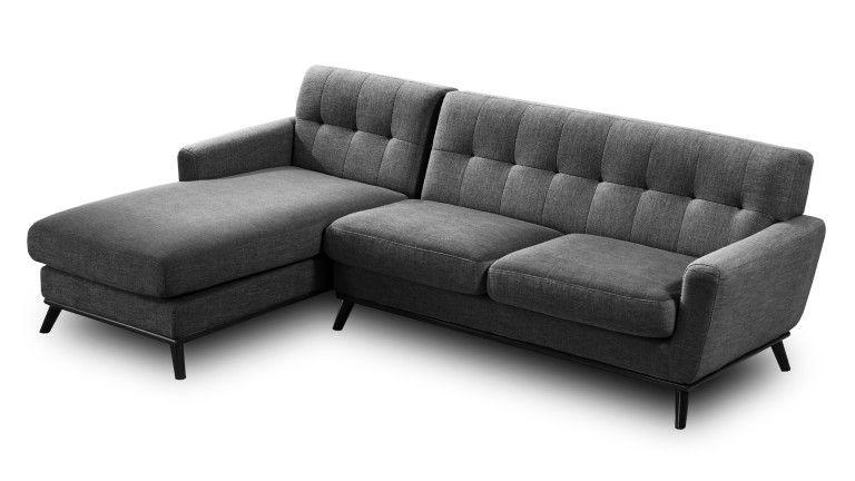 Canapé d angle capitoné style scandinave en tissu Stockolm