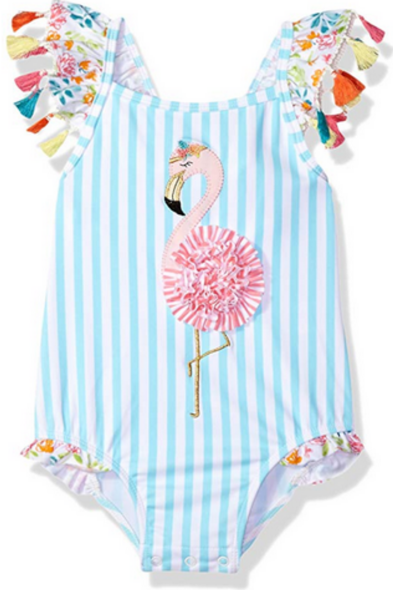 5727a3d3fee Super cute little swimsuit with flamingo and tassels. Cute Baby Girl Outfits