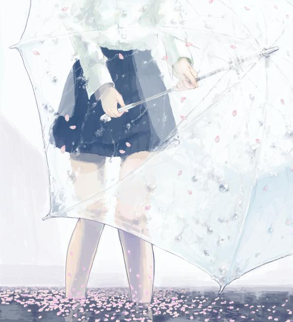 Anime Blue - kawaiilove girl with umbrella in the rain ...