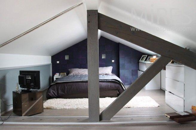 chambre sous combles chambre mezzanine pinterest chambre sous combles combles et chambres. Black Bedroom Furniture Sets. Home Design Ideas