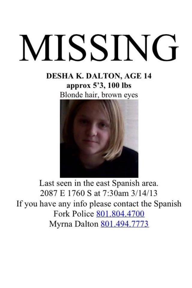 3/14/2013: Desha Dalton, 14, Missing From Spanish Fork, UT