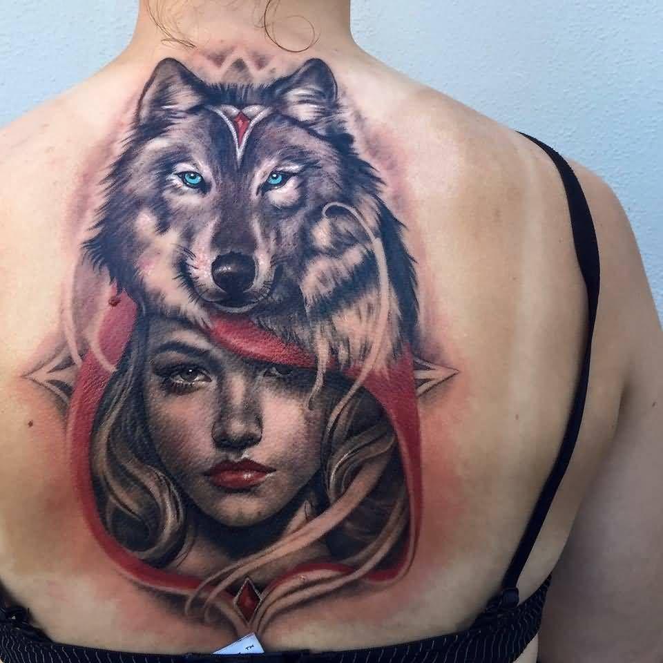Tatouage Visage Femme Et Tete De Loup Couleur Dos Homme Tatoo