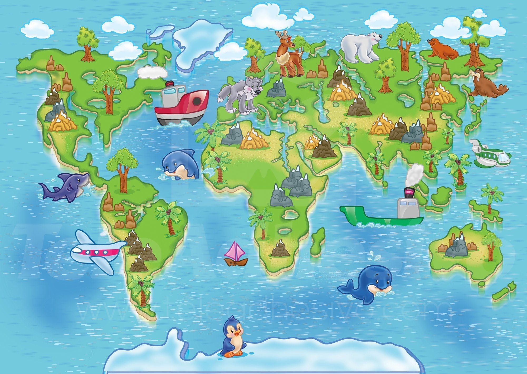Mapa Del Mundo Infantil.Mapamundi Infantil 3 Arte Mapamundi Mapa Mural Del Mundo