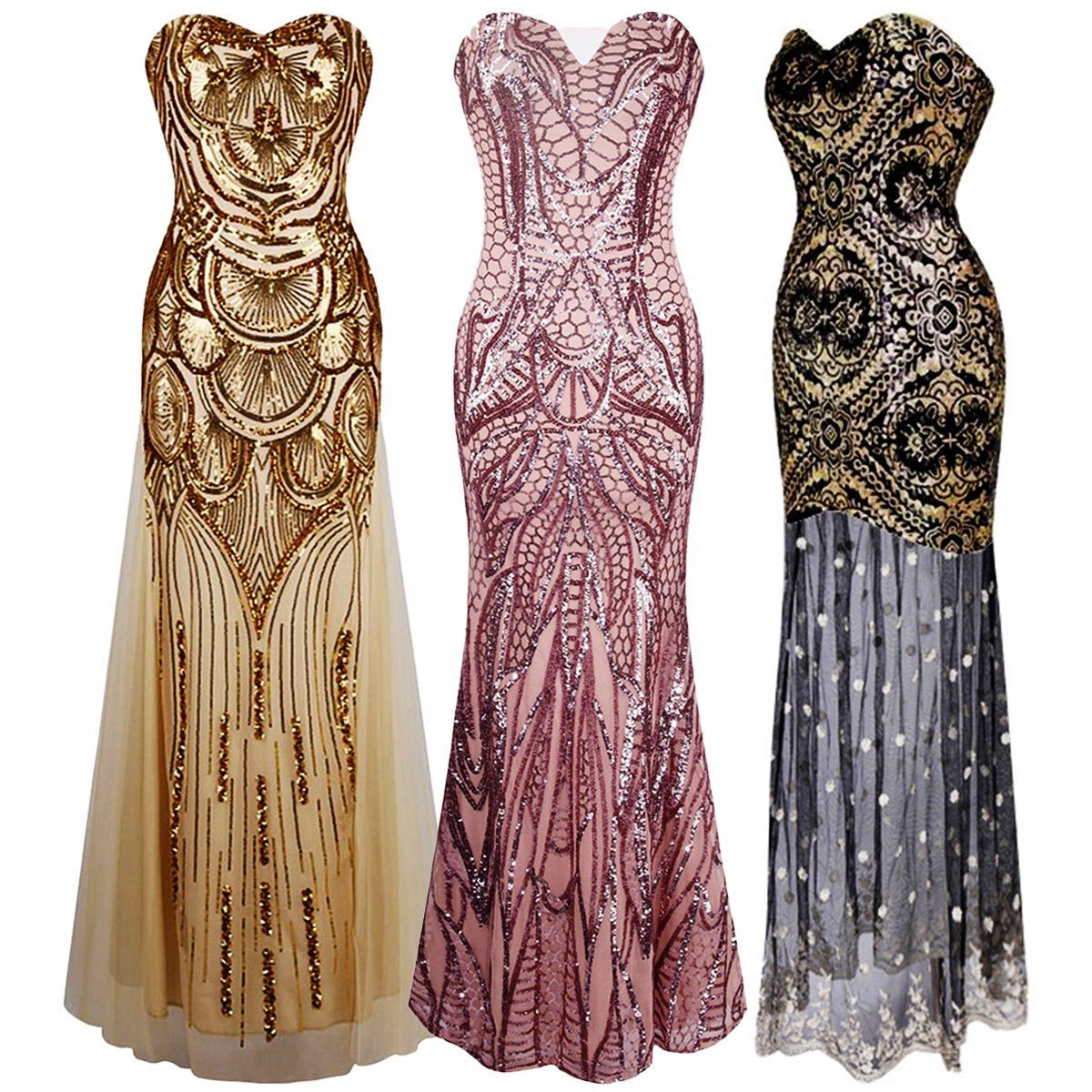 Sequins Women\'s Long Mermaid Fishtail Prom Evening Gown Party ...