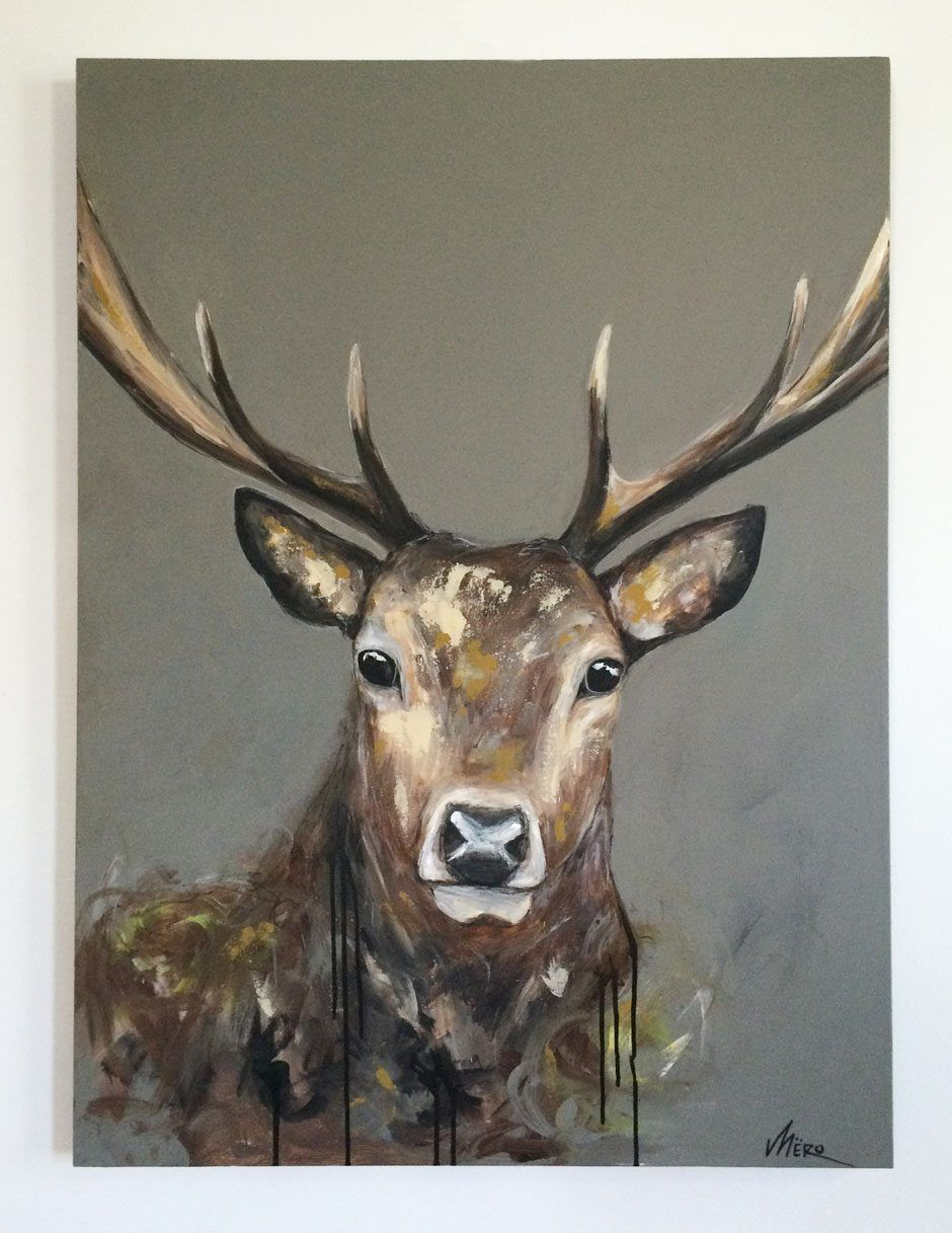 peinture acrylique d 39 un cerf r alis e par l 39 artiste peintre m ro de qu bec tableau. Black Bedroom Furniture Sets. Home Design Ideas