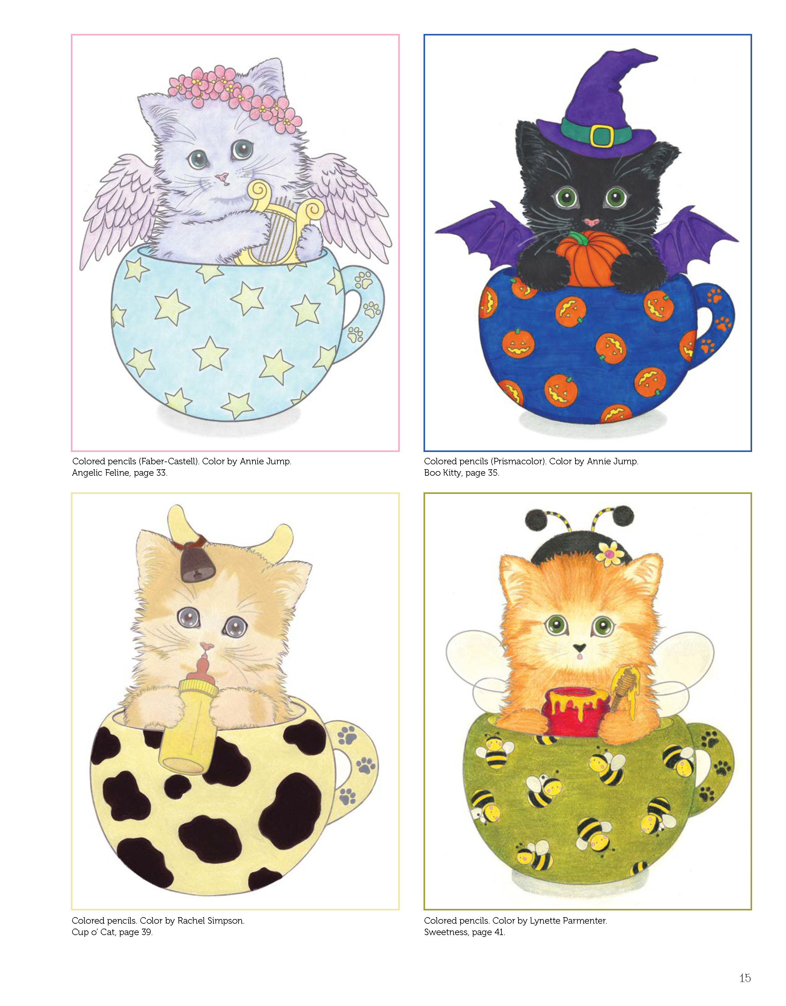 Teacup Kittens Coloring Book Design Originals 32 Adorable Expressive Eyed Cat Designs From Illustrator Ka Kitten Coloring Book Kittens Coloring Teacup Kitten