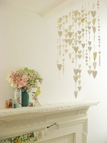 Heart garlands with T.