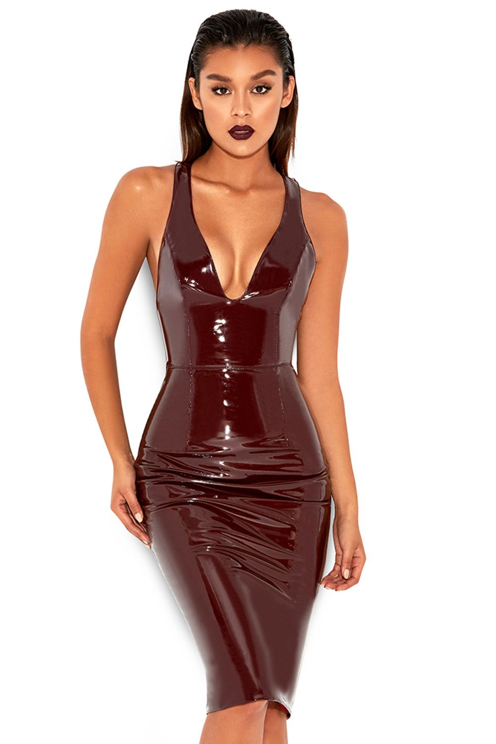 d57a3ed900 Clothing : Bodycon Dresses : 'Raveena' Burgundy Patent Vegan Leather ...