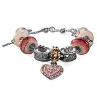 Pink Murano Glass Silver Plated Crystal Birtday Cake Heart Spacer Set Fits Beaded Bracelet Fit All Brands Pinterest