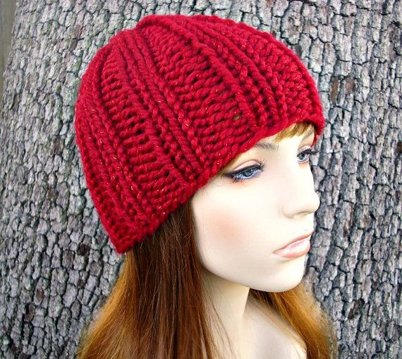 d55d902514a Knit Hat Red Womens Hat - Ribbed Beanie in Metallic Poinsettia Red Knit Hat  - Red Hat Red Beanie Womens Accessories Winter Hat