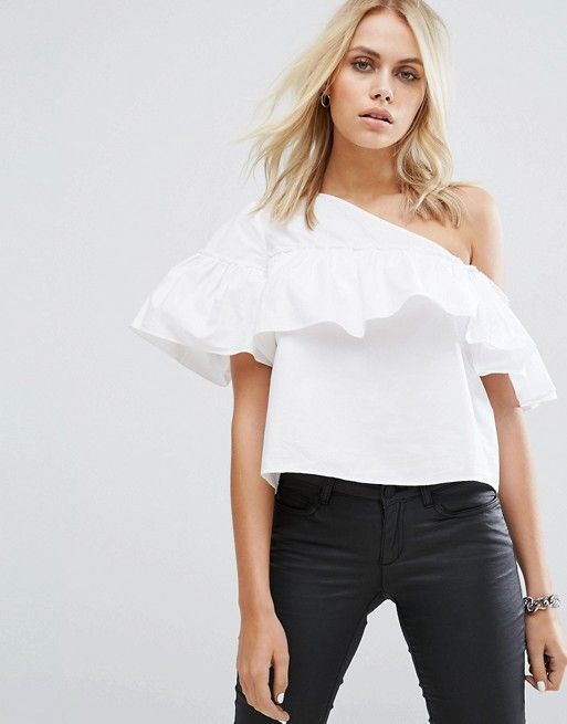 b3eb744b790f8a Noisy May One Shoulder Frill Top