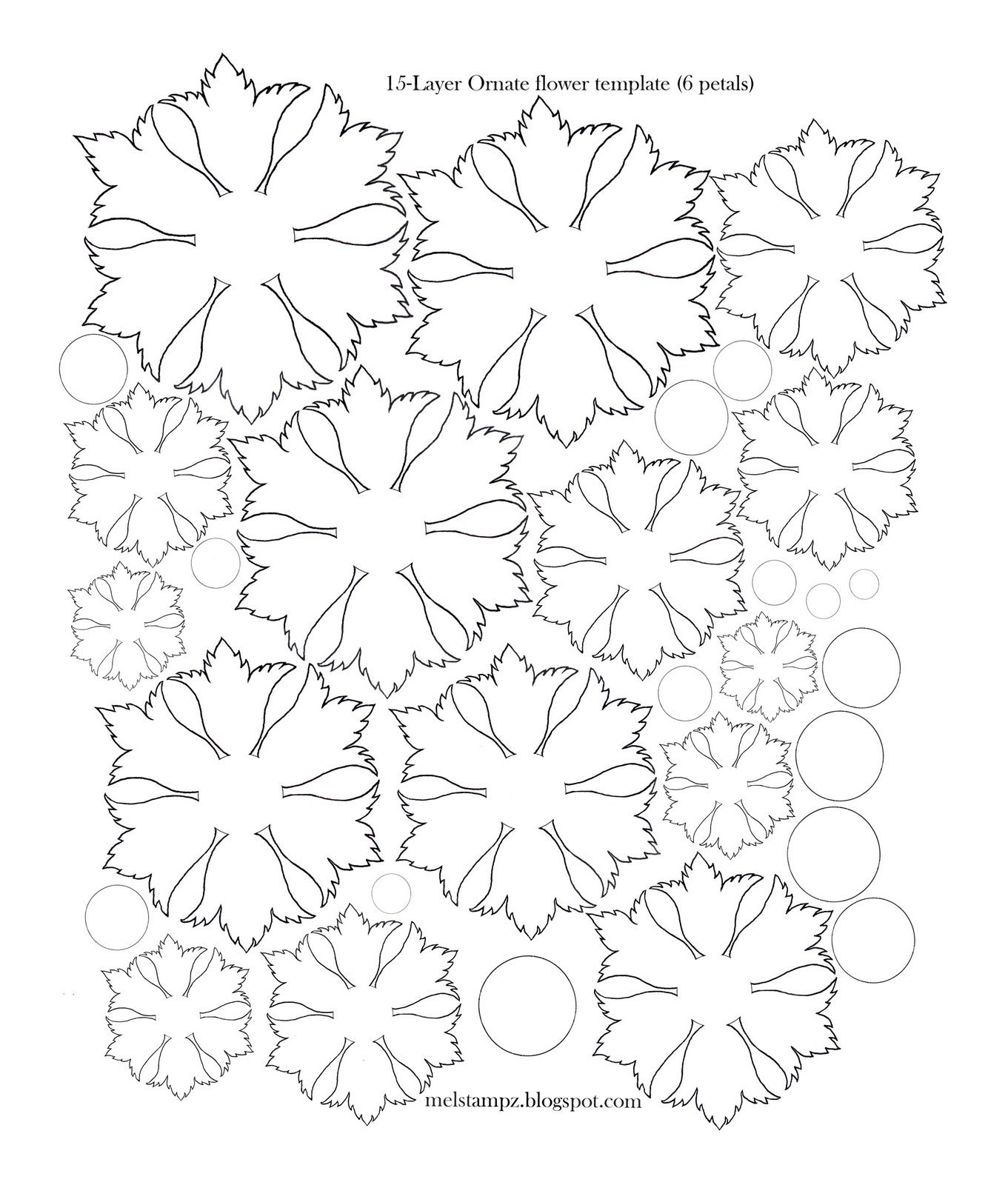 Mel Stampz Petal Ornate Flower Template  Svg Cutting Machines