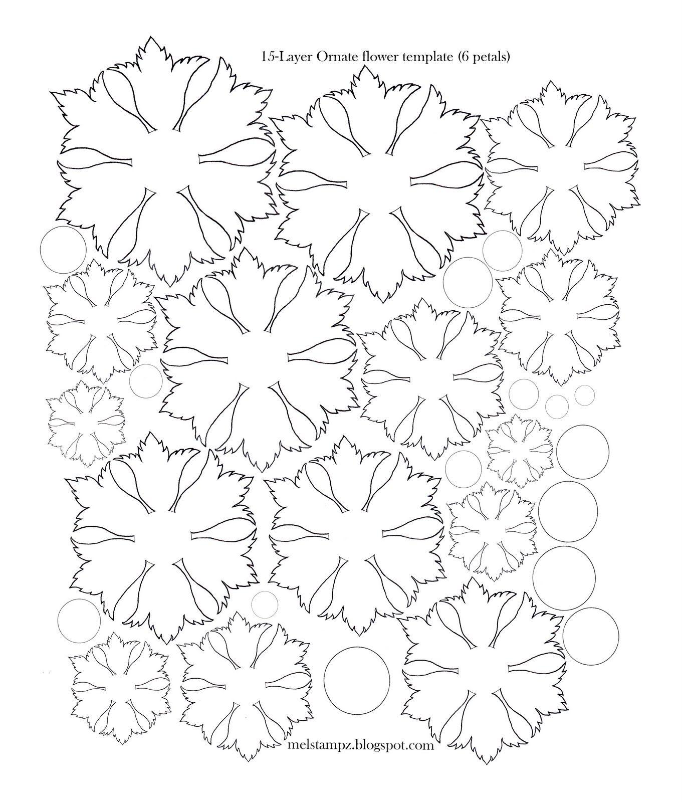 Mel Stampz 6 Petal Ornate Flower Template Svg Cutting Machines