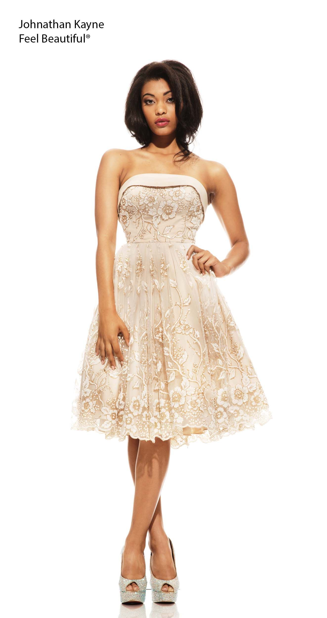 This tea length satin strapless cocktail dress is super sweet and ...