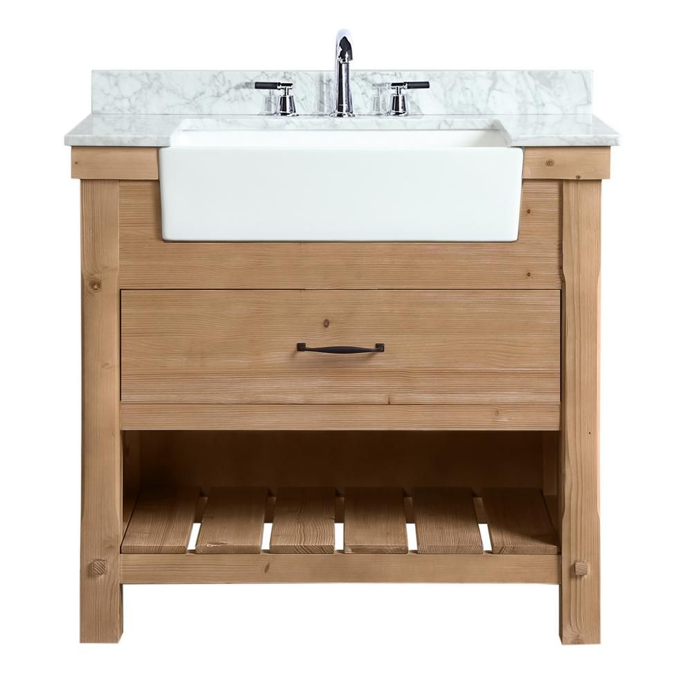 Ari Kitchen And Bath Marina 36 In Single Bath Vanity In Driftwood With Marble Vanity Top In Carrara White With White Farmhouse Basin Akb Marina 36dw The Home In 2020 Single Bathroom Vanity