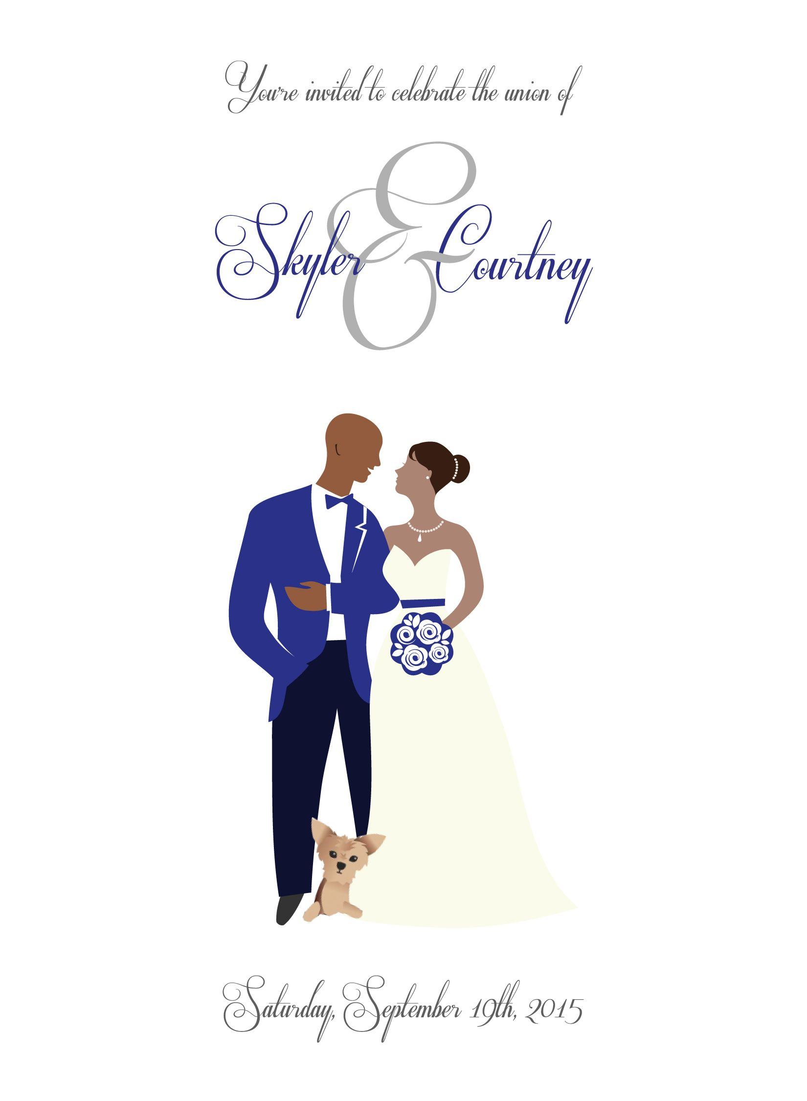 Our Modern And Fun Wedding Invitation That Includes Puppy Black Bride Groom African American Cartoon