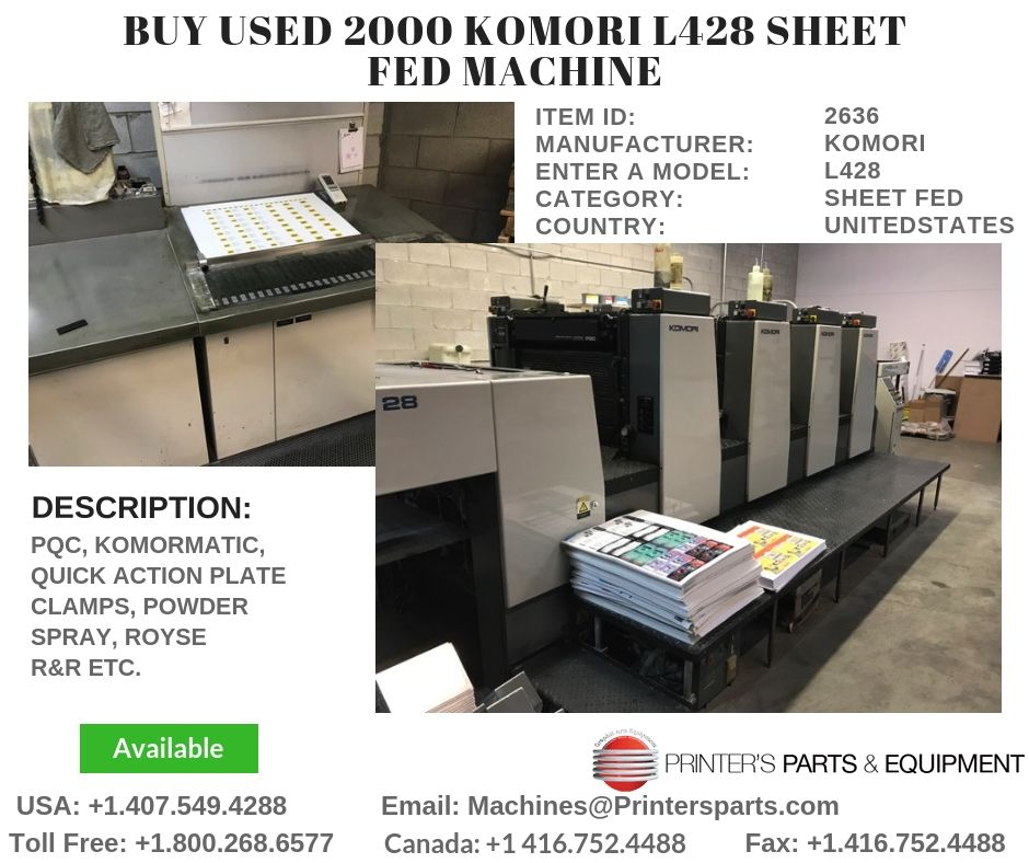 Buy 2000 KOMORI L428 Sheet Fed Machine Sheet, Fed, Printer