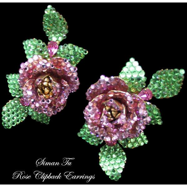 Siman Tu Vintage Rhinestone Earrings 1990s Clip On Rose Crystal... (835 ILS) ❤ liked on Polyvore featuring jewelry, earrings, rhinestone stud earrings, rose jewelry, earring jewelry, rhinestone jewelry and rose jewellery