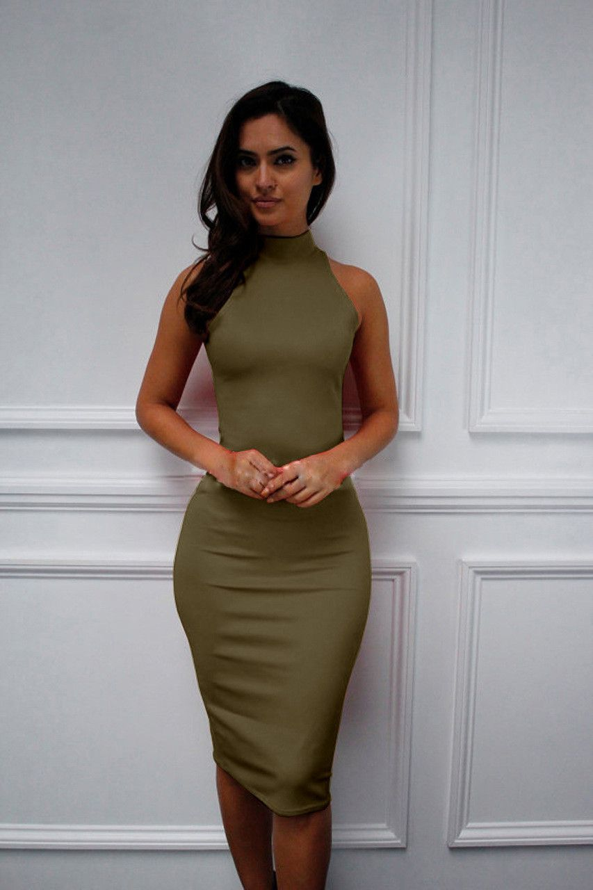 Simple sleeveless stretch sexy party dress women pinterest