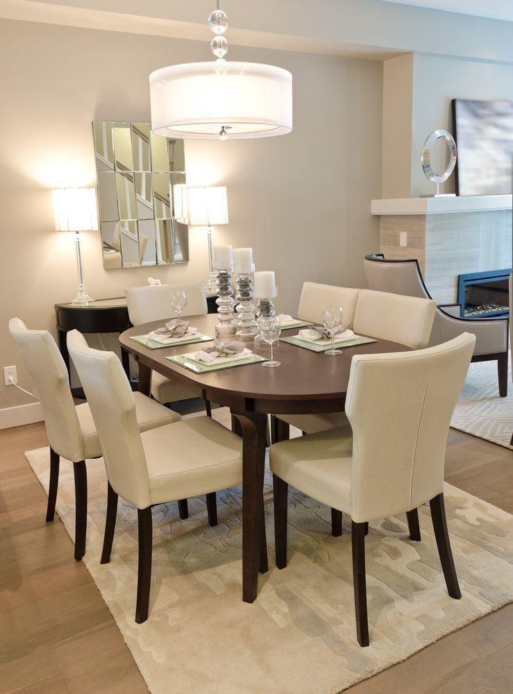 Comedor moderno con alfombra blanca. Fotos para que te ...