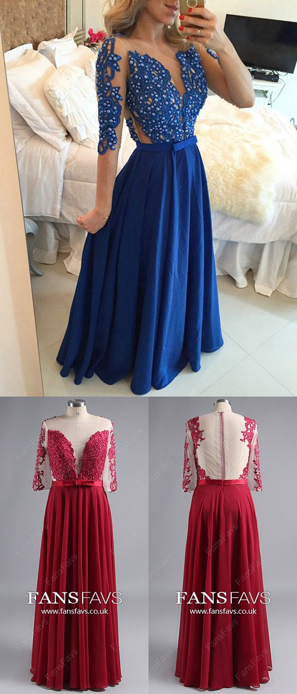 Royal blue prom dresses longaline prom dresses with sleeves