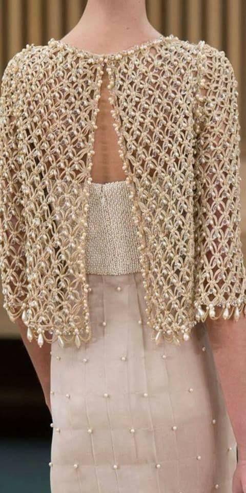 Boncuklu Sal Bayan Bluz Crochet Fashion Crochet Clothes Crochet Bolero