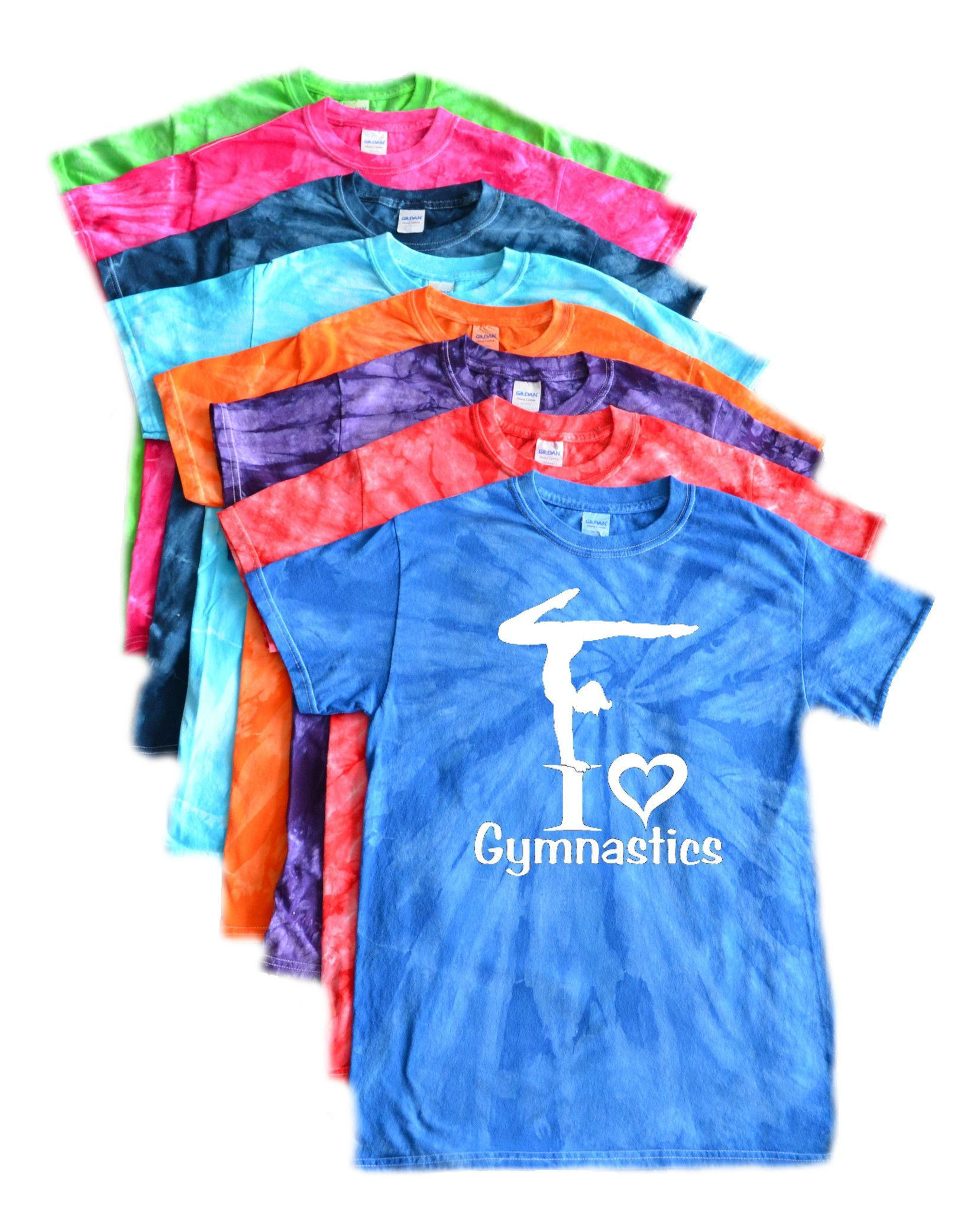 Gymnastics Tie Dye T-Shirt - I Love Gymnastics Logo   Gymnastics ...
