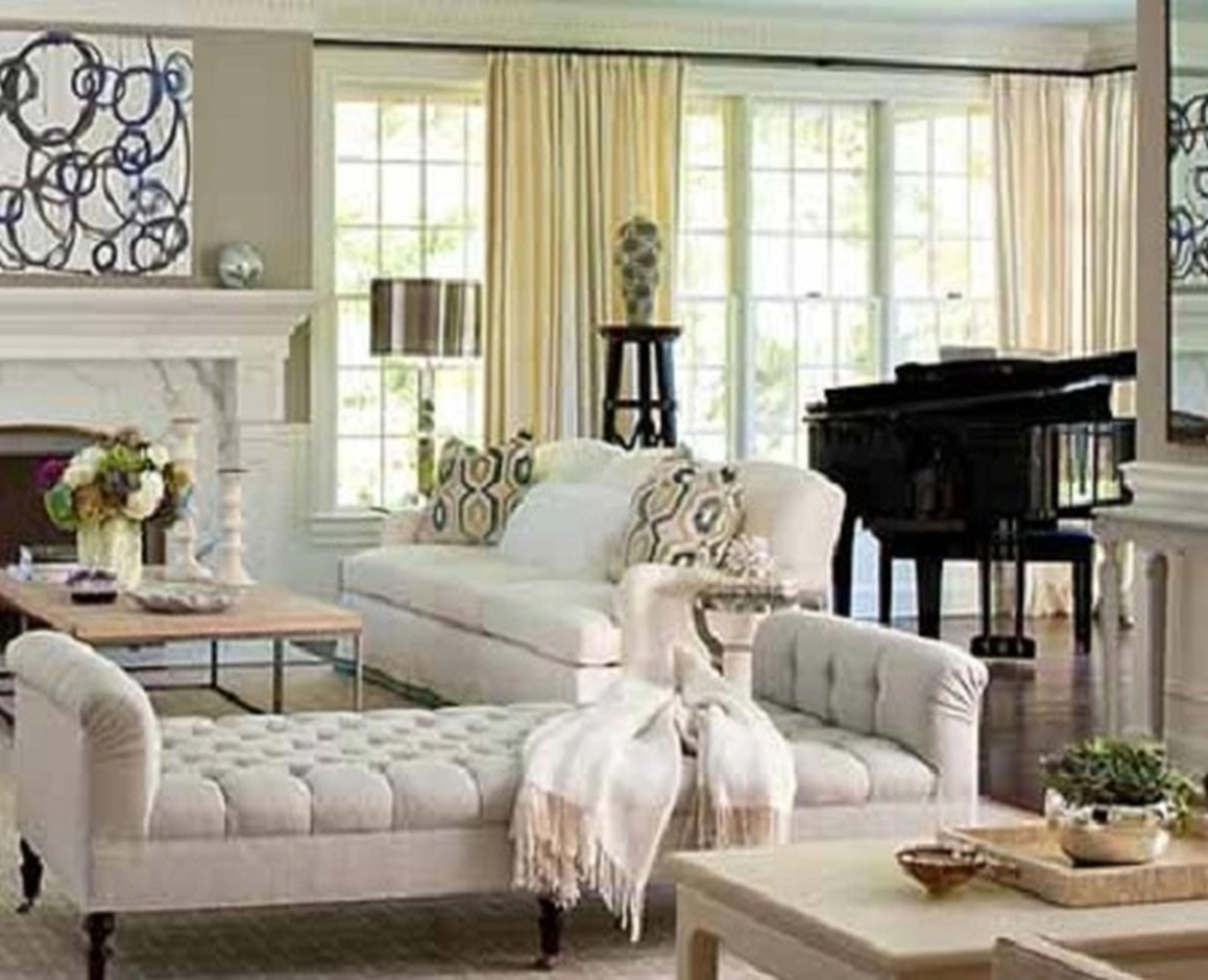 Piano, Living Room. White, Chippy, Shabby Chic ...