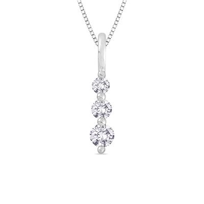 1/4 CT. T.W. Diamond Linear Three Stone Pendant in 14K White Gold - Save on Select Styles - Zales