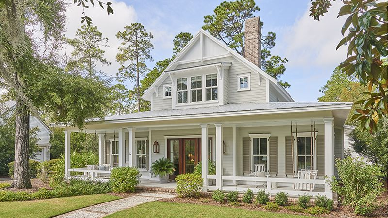 Classic Southern Architecture Breezy Colors And A Dose Of Cozy Textures Create A New Home Coastal House Plans Cottage House Plans Country Cottage House Plans