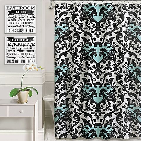Heaton Parke Bathroom Rules Shower Curtain Set In Black