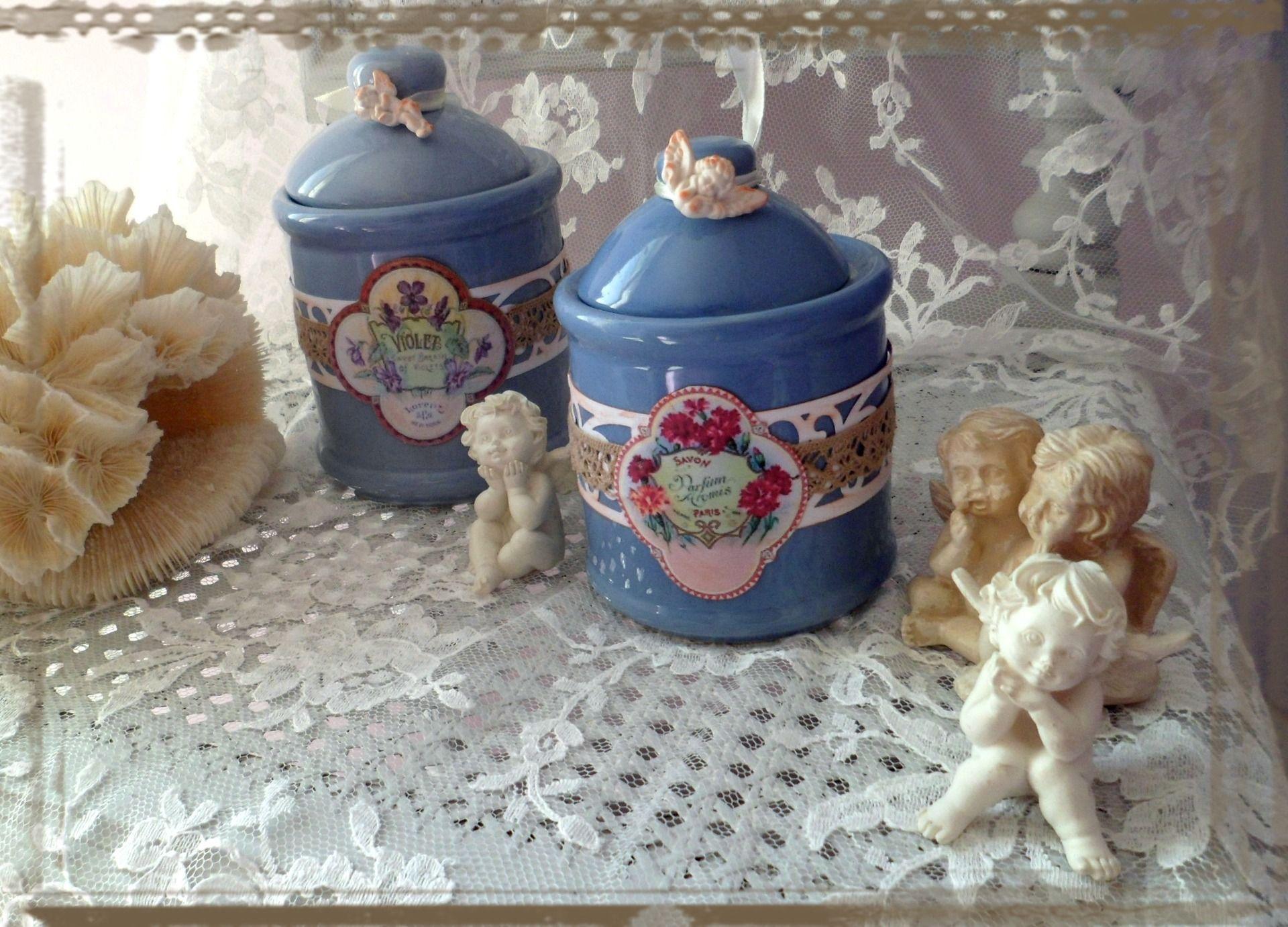 2 Pots à Coton Salle de Bain shabby chic : Accessoires de maison par crealicelie