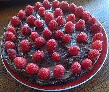 Chocolade kaastaart met frambozen...