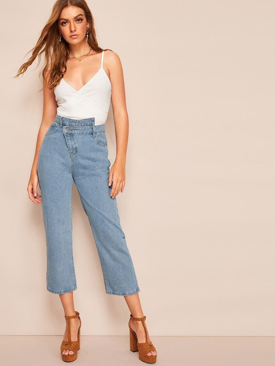 Asymmetrical straight leg jeans shein with images