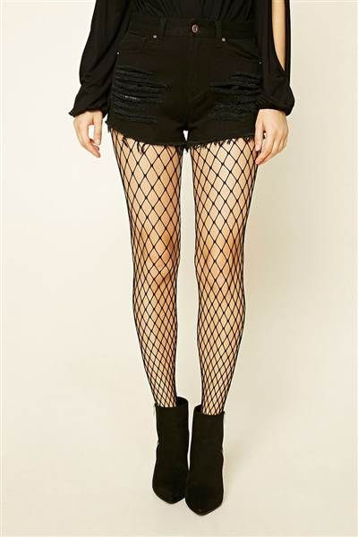 d89c2b7eb49ce We love the way these fishnet tights from Forever 21 look with shorts and  booties.