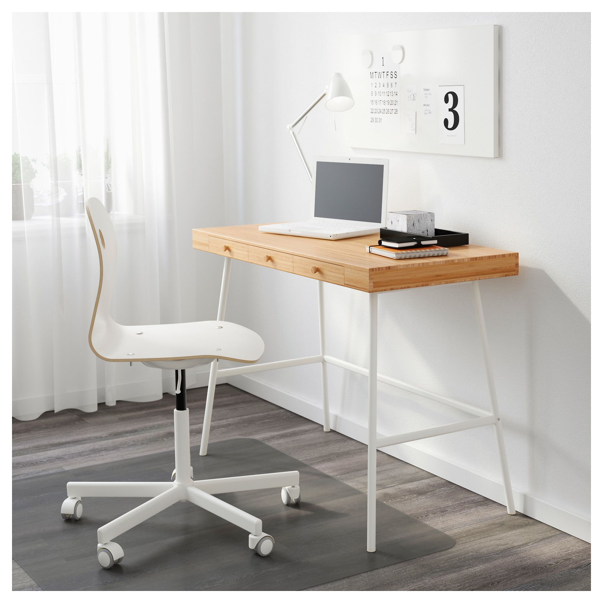 Ikea Lillasen Desk Bamboo Is A Durable Renewable And Sustainable Material Can Be Placed Anywhere In The Room Because The Back Ikea Desk Ikea Bureau Ikea