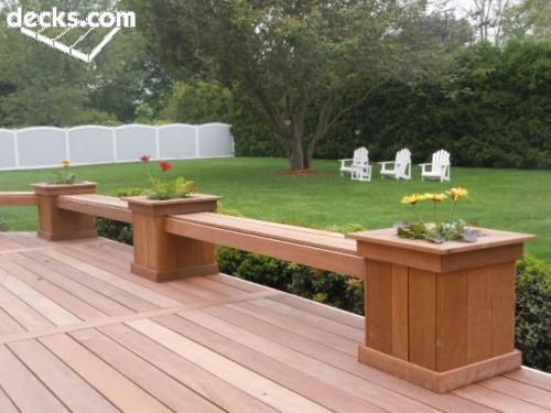 Decks with planter box bench planter boxes with bench for Small deck seating ideas