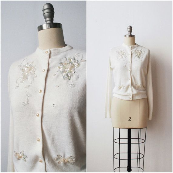 Vintage 1960s Cardigan / White Beaded Cardigan Sweater Mid Century ...