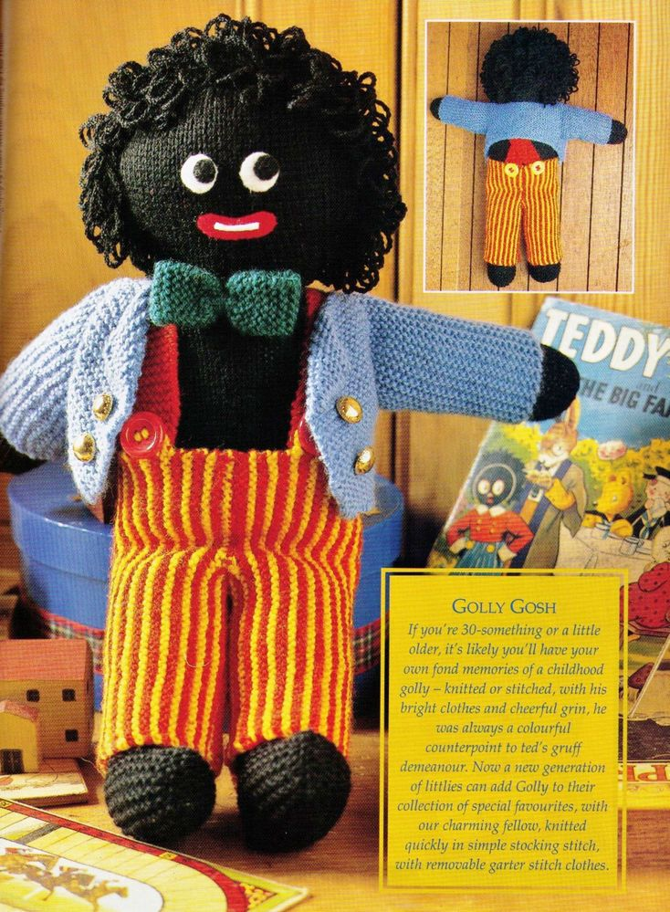 Vintage 1970s Golly My Golliwog Doll Soft Toy 40 Cms Tall 8ply