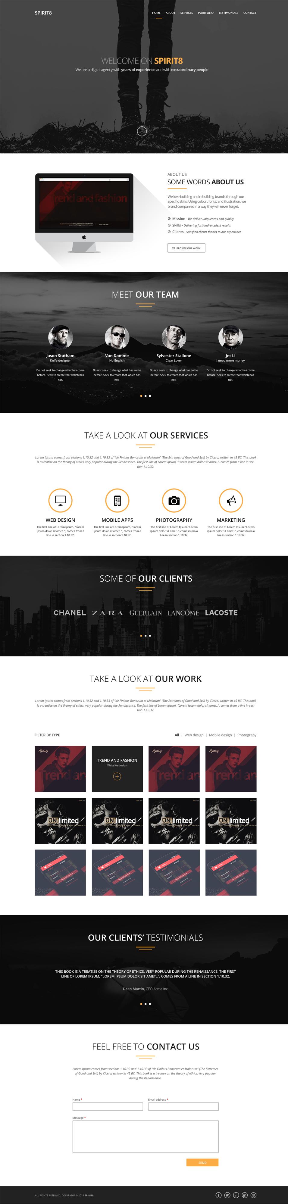 spirit8 digital agency one page template psd web design