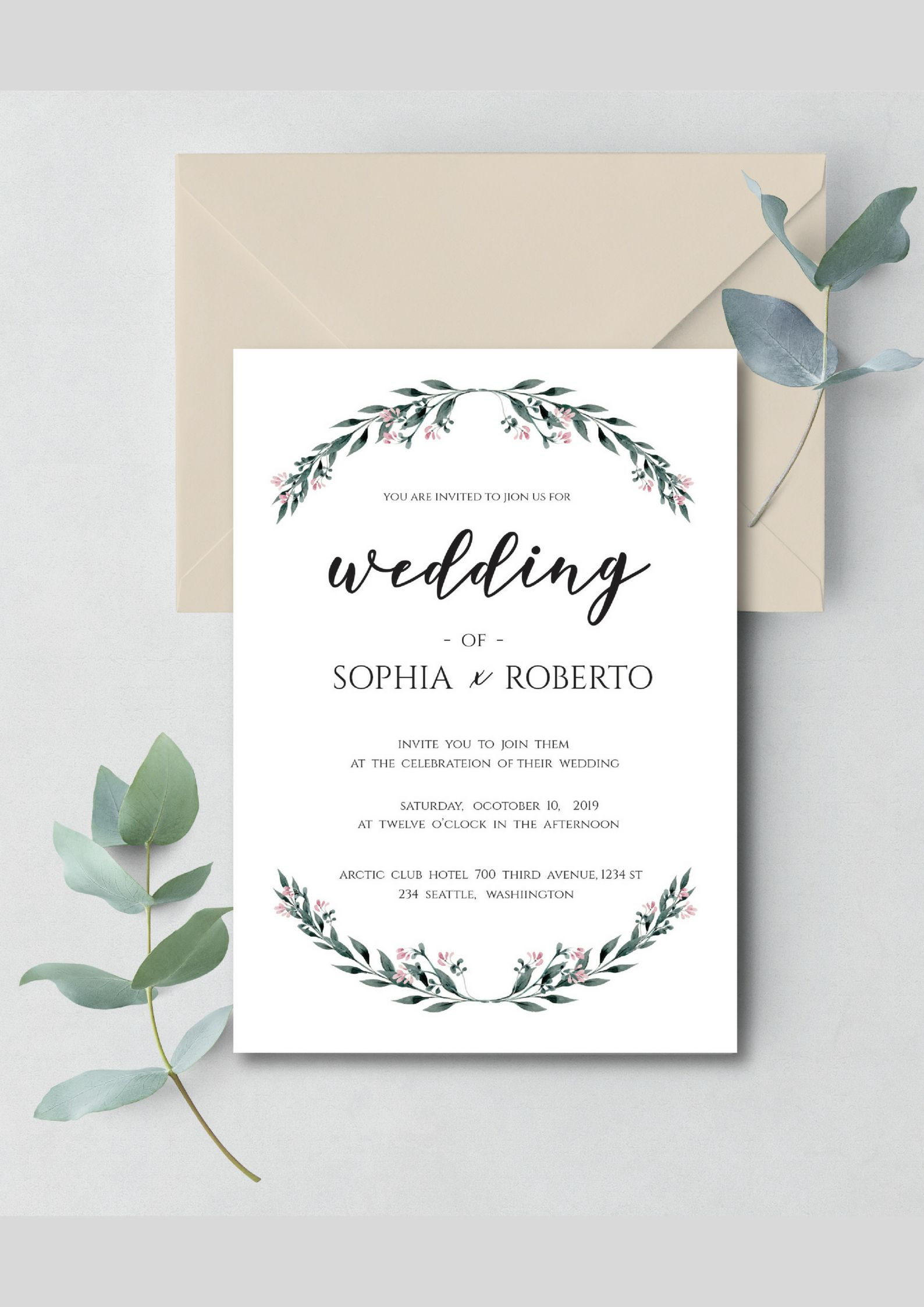 Rustic Wedding Invitation Template Download P