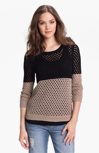 Caslon® Colorblock Open Stitch Sweater (Regular & Petite ...