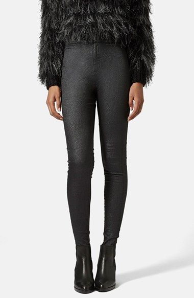 Topshop Moto 'Joni' Glitter Skinny Jeans (Black) (Regular, Short & Long) available at #Nordstrom