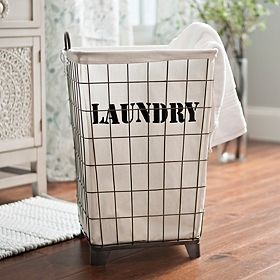 Pretty Laundry Baskets Glamorous White Lined Wire Laundry Basket  Master Bedroom  Pinterest Review